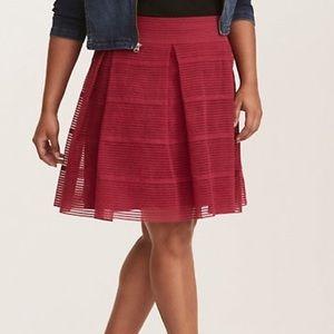 Striped Sheer Flared Skirt - Burgundy